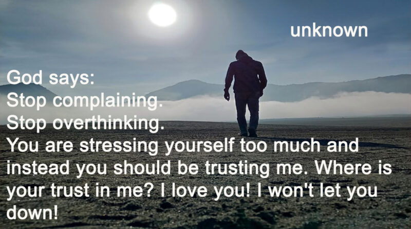 God says Where is your trust in me?
